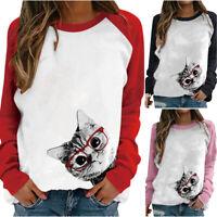 Womens Ladies Cat Prints Pullover Tops Long Sleeve Fashion Sweatshirt Blouses
