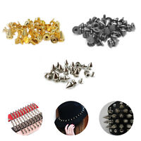 7mm x 9.5mm Spike Cone Punk Studs Rivets Screw Back For Punk Wear Dresses Bags