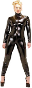 GGTBOUTIQUE Top Totty Fashion Range Vinyl Long Sleeved Catsuit With Zipper Front