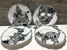 222Fifth Wiccan Lace Halloween 4 Salad Plates Cat Witch Skull Haunted House