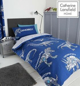 Catherine Lansfield Kids Children's Dinobot Duvet Cover Bedroom Collection Blue