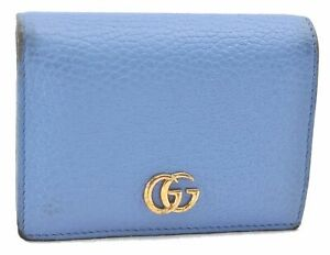 Authentic GUCCI GG Marmont Bifold Wallet Leather 456126 Light Blue E1055