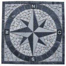 Naturstein Marmor Rosone 60x60 cm Windrose Mosaik Einleger Grau Weiss 014 NEU