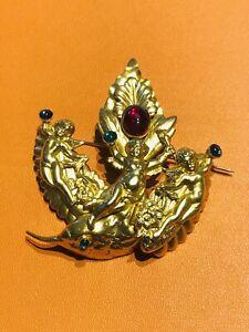 Spingarn New York Gold Plated Red Blue Green Cabochon Glass Angel Cherub Brooch
