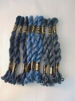 Vintage DMC 3 Cotton Perle Embroidery Thread New 15 M 9 Skeins Assorted Blues