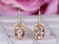 4 Ct Oval Cut Morganite Drop/Dangle Diamonds Halo Earrings 14K Rose Gold Over