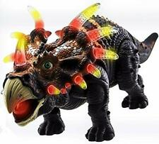 Walking Triceratops Dinosaur Toy Figure with Many Lights & Loud Roar Sounds -New