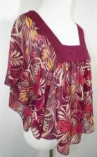 Urban Outfitters Lux Wine Floral Sheer Batwing Boho Hippie Shirt Top S