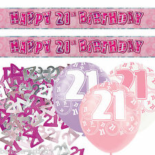 Pink Silver Girl Glitz 21st Birthday Banner Party Decoration Pack Kit Set