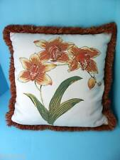 Frontgate Elaine Smith Orchid Floral outdoor sofa chair Throw Pillow ORANGE