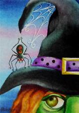 50% OFF SALE! ACEO Limited Edition Print Halloween Witch Clarissa Hat Spider Web