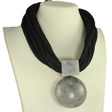 Oversized large round grey resin statement pendant black fabric choker necklace