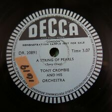 78rpm TONY CROMBIE a string of pearls , single side sample disc DR 20891