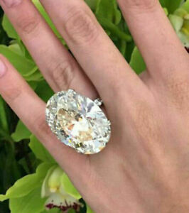 925 Sterling Silver 50.10 CT Big Oval Solitaire Cocktail Party CZ Beautiful Ring