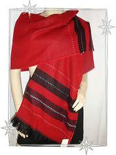 Magnifique Echarpe Etole Rouge Marron Lurex Tie Rack 66 x 210 cm Neuve