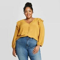Women's Plus Size Long Sleeve Deep V-Neck Double Ruffle Top Caramel Yellow 2X