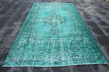 """Turquoise Embroidere Rug 5'3""""x8'7"""" Handknotted Rugs Turkish Ethnic Rugs 1468"""