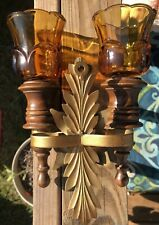 Home Interiors Double Wall Sconce wood & brass trim 2 glass votive cups 71/4�-6�