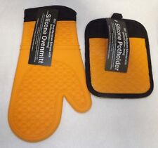 Silicone Oven Mitt/Pad Set of 2 500 Degree Heat Resistant Cotton Lining Orange