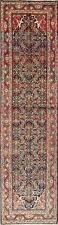 Antique Geometric Mahal Oriental Hand-Knotted 4'x13' Wool Runner Rug
