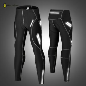 Mens Padded Cycling Trousers Leggingns Tights Compression Long Pants Reflective