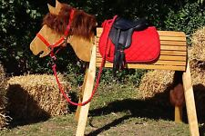 Holzpferd,Voltigierpferd,Pferd- bewegl.Kopf,ca.116cm inkl.Zubehör-Farbe Kastanie