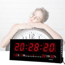 Numérique Grand affichage LED Mur Horloge De Bureau Alarme w/Calendrier
