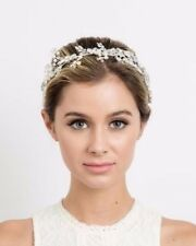 Soho Style Headband Crystal Hair Crown with Pearl and Vine Accents