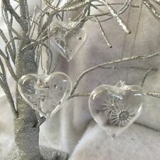 3x 5cm Glass Etched Gem Heart Hanging Decorations Christmas Tree Clear Mini