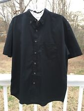 FeatherLite Fine Stain Resistant Short Sleeve Button Down Shirt Black Mens Large