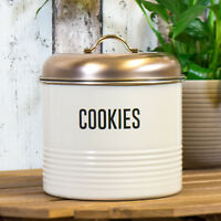 Biscuit Storage Canister Jar Cookie Barrel Cream Enamel with Copper Coloured Lid