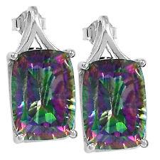 """""""Rainbow Topaz"""" 925 Sterling Silver Stud Earrings Jewelry 2509E"""