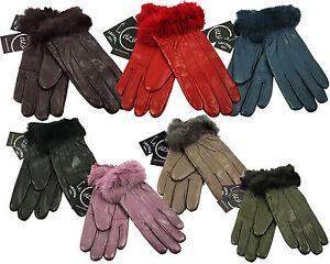 Women's Luxurious 100% Genuine Soft Leather Fleece Lined Faux Fur Cuff Gloves