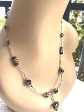 Estate Black Enamel Cloisonne Bead Silver Tone Tube Chain Heart Pendant Necklace