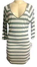 INC Causal Hthr Grey Ruched Striped Scoop Neck Long Sleeve Mini XLDress