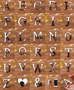 Mirror Wall Sticker Mirror Effect 26 Alphabet Letters Art Decor Acrylic Silver