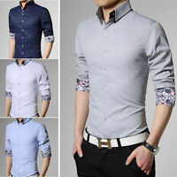 New Men's Double collar Luxury Korean Casual Slim Fit Stylish Dress Shirts MT278
