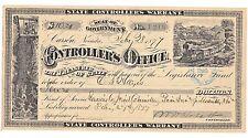 1877 $10 State Controllers Warrant Carson Nevada Legislative Fund