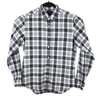 Theory Mens Zack White Gray Plaid Long Sleeve Button Shirt Size Medium