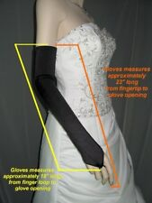 "23"" Black Fingerless Stretch Satin Formal Wedding Bridesmaid Opera Gloves g3bk."