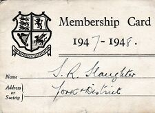 THE REFEREES MEMBERSHIP ASSOCIATION MEMBERSHIP CARD 1947-1948