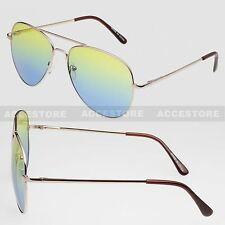 Two Color Lens Unisex Aviator Shades Sunglasses Outdoor Green Blue Lens
