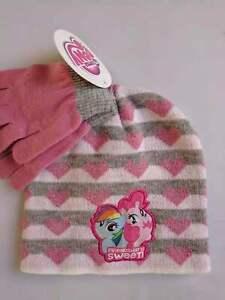 My Little Pony Girls Cute Pink Winter Hat Gloves Beanie SET Kids Rainbow Toddler