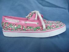 SPERRY Top-Sider Shoes Loafers 7.5M Pink Green Florals Beaded Sparkly Twice Worn