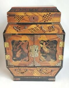 """15"""" Antique Chinese Wood Inlayed & Painted Jewelry Chest Box Very Finely Made"""