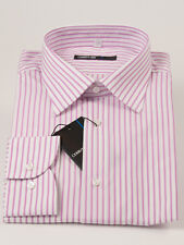 New Cerruti 1881 Pink Stripe Long Sleeve Cotton Dress Shirt 43  / 17