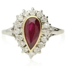 PRE-OWNED PEAR CUT RUBY & DIAMOND CLUSTER  RING