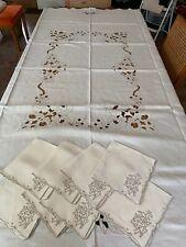 "Vintage Ecru Madeira Embroidered Cutwork Tablecloth 8 Napkins 84"" x 70"""