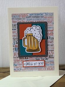 Handmade Fathers Day Card Beer  5x7 Inch.