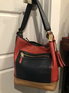 Authentic Coach Leather Red, Navy Blue, Beige Purse Handbag Bag